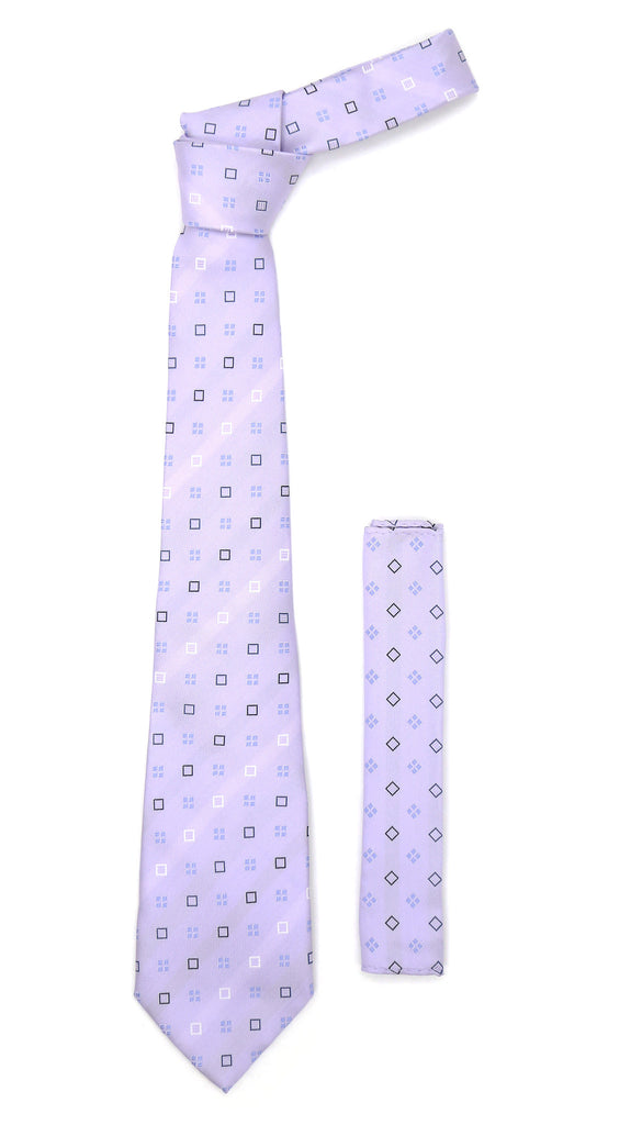 Lavender Geometric Necktie with Handkerchief Set - FHYINC best men
