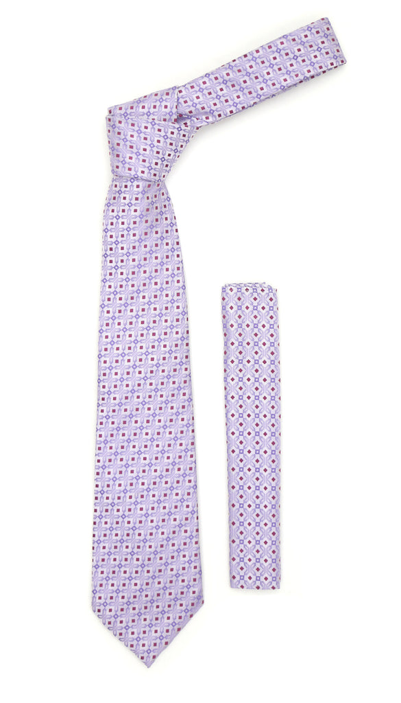 Lavender Purple Geometric Necktie with Handkerchief Set - FHYINC best men