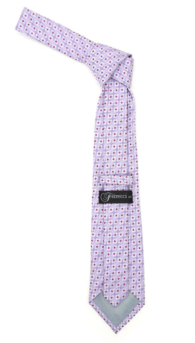 Lavender Purple Geometric Necktie with Handkerchief Set