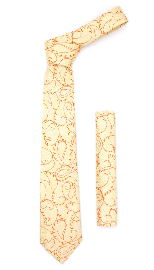 Gold Orange Floral Design Necktie with Handkerchief Set - FHYINC best men