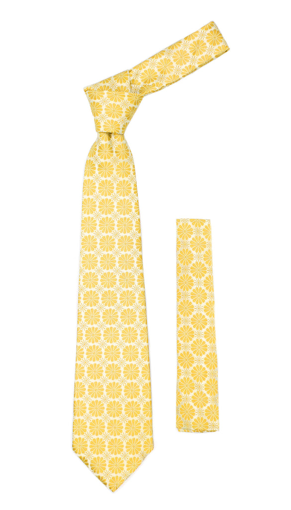 Floral Yellow Necktie with Handkderchief Set - FHYINC best men