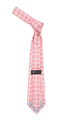 Floral Pink Necktie with Handkderchief Set