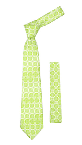Floral Lime Green Necktie with Handkderchief Set