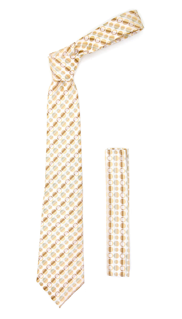Beige Polkadot Stripe Necktie with Handkerchief Set - FHYINC best men