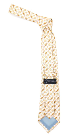 Beige Polkadot Stripe Necktie with Handkerchief Set