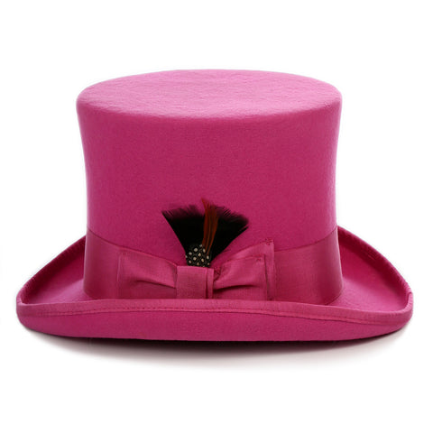 Premium Fuchsia Wool Top Hat