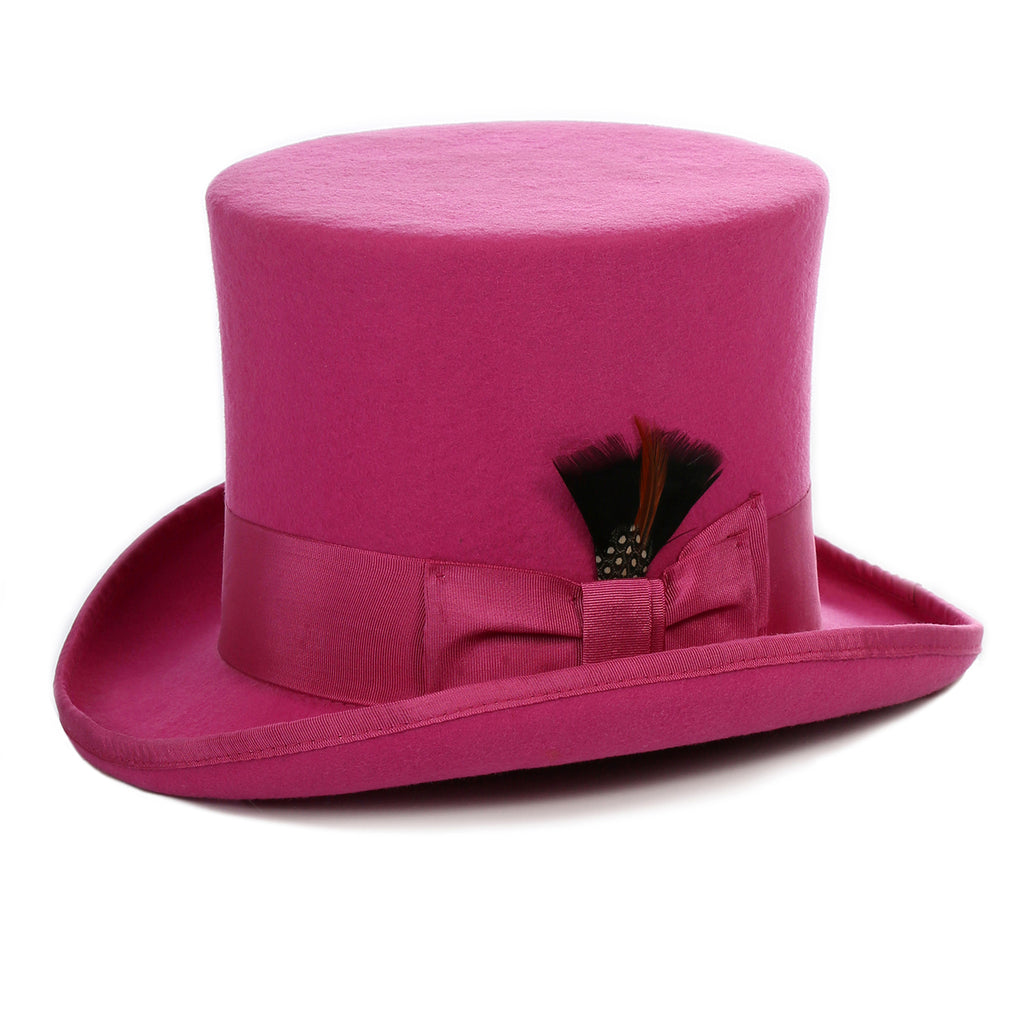 Premium Fuchsia Wool Top Hat - FHYINC best men