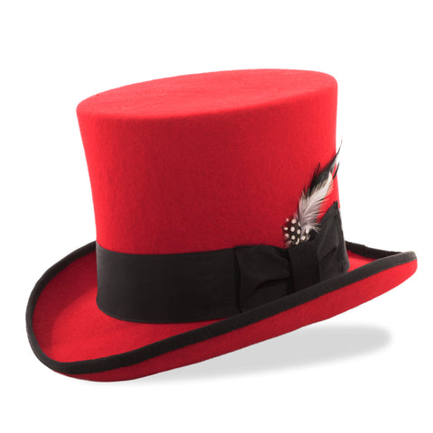 Premium Wool Red Black Top Hat