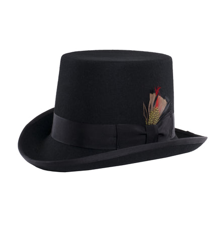 Ferrecci Black Short Pilgrim Top Hat 100% Wool Fully Lined inside, Black