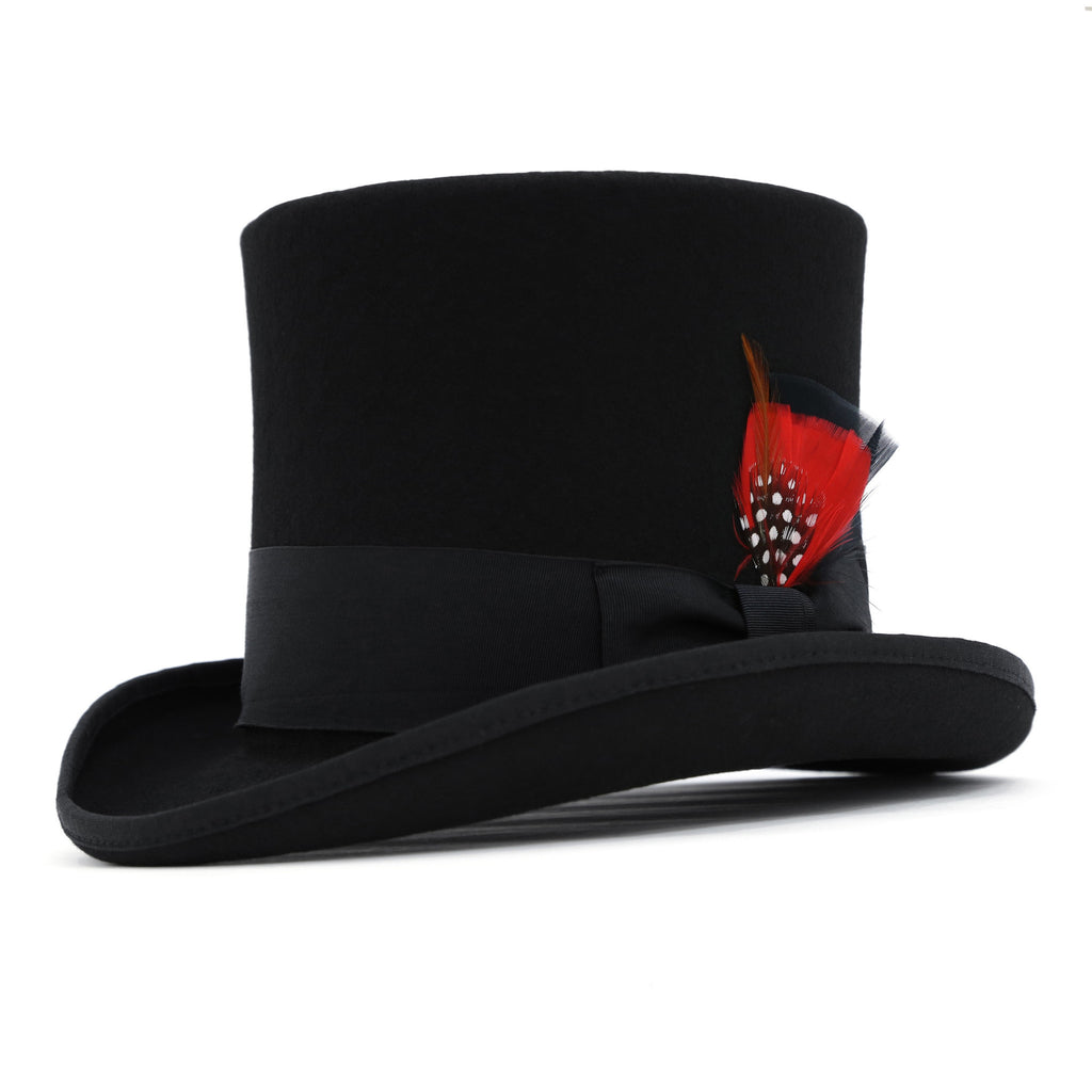 Black Wool Felt Victorian Top hat - FHYINC best men