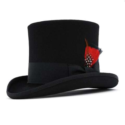 Mens Black Wool Top hat