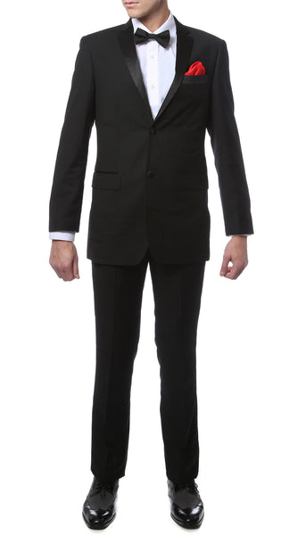 Mens TUX2B2P Black Regular Fit Tuxedo 2pc Suit