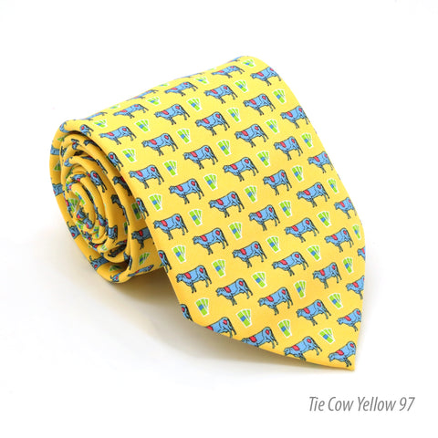 Cow Yellow Necktie with Handkerchief Set