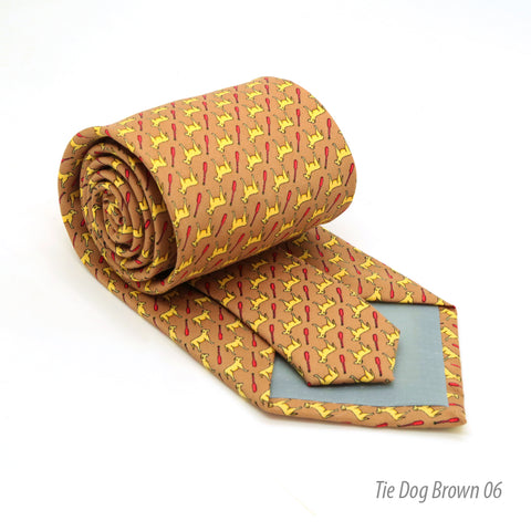 Dog Brown Necktie with Handkerchief Set