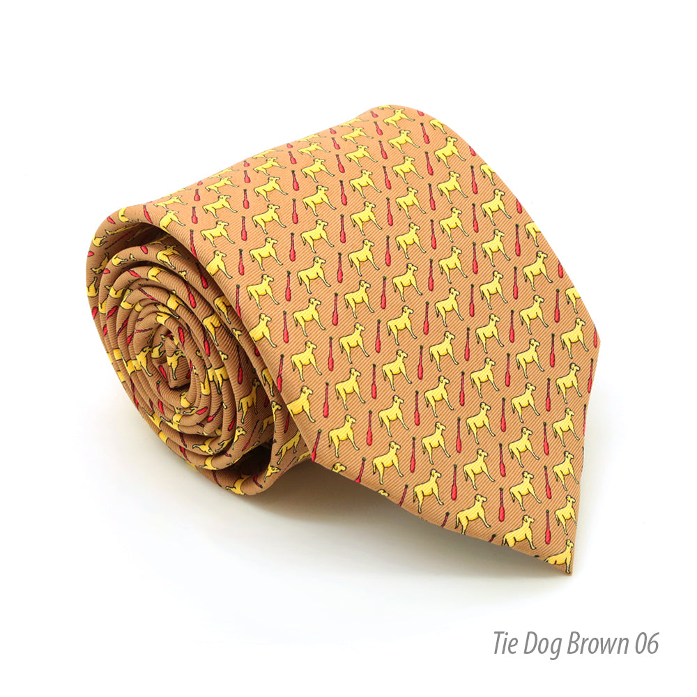 Dog Brown Necktie with Handkerchief Set - FHYINC best men