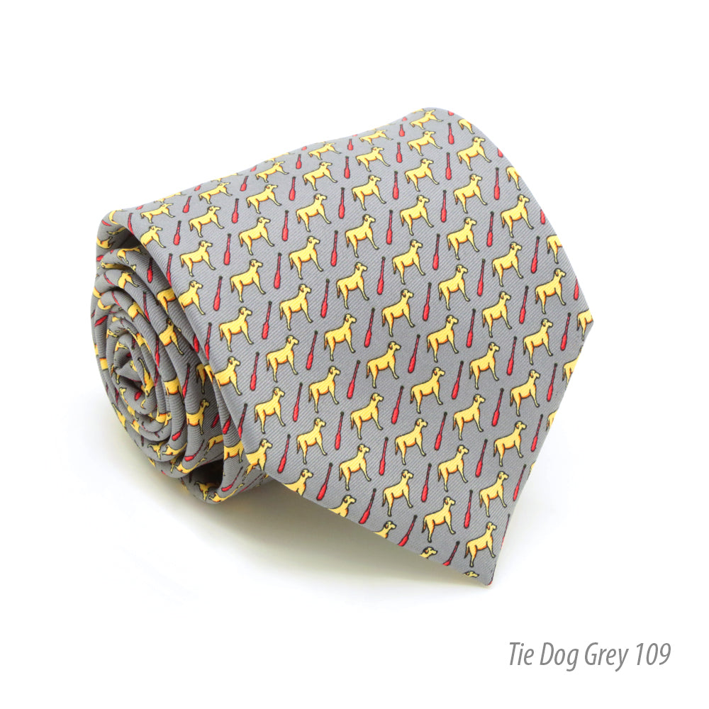 Dog Grey Necktie with Handkerchief Set - FHYINC best men
