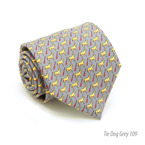 Dog Grey Necktie with Handkerchief Set
