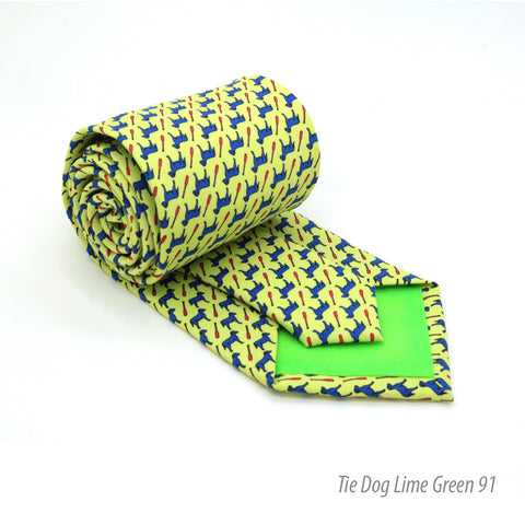 Dog Lime Green Necktie with Handkerchief Set