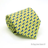Dog Lime Green Necktie with Handkerchief Set - FHYINC best men's suits, tuxedos, formal men's wear wholesale