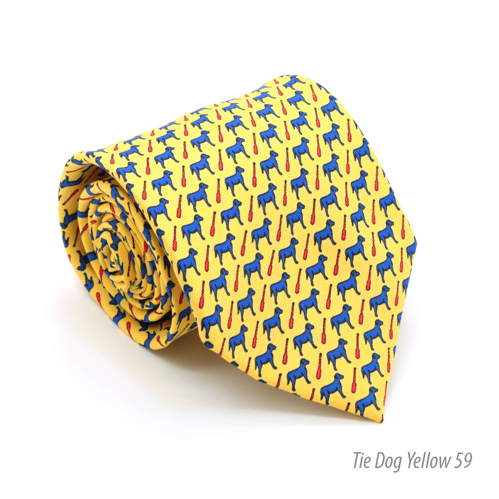 Dog Yellow Necktie with Handkerchief Set - FHYINC best men