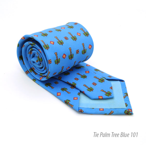 FHY INC palm tree blue print tie with handkerchief