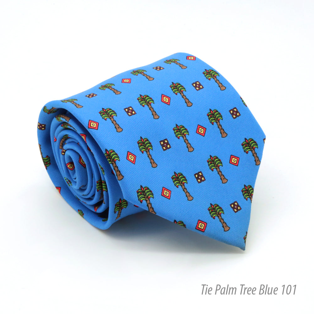 FHY INC palm tree blue print tie