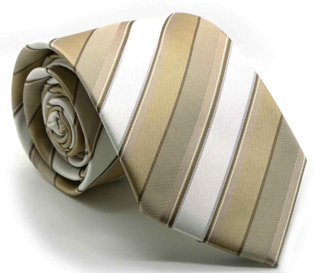 Mens Dads Classic Beige Striped Pattern Business Casual Necktie & Hanky Set U-7 - FHYINC best men