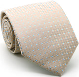 Mens Dads Classic Beige Geometric Pattern Business Casual Necktie & Hanky Set UO-1 - FHYINC best men's suits, tuxedos, formal men's wear wholesale