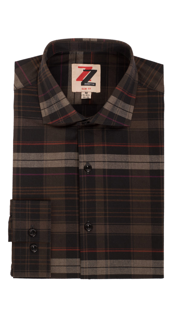 Brown Plaid Slim Fit Casual Shirt - Vale - FHYINC best men