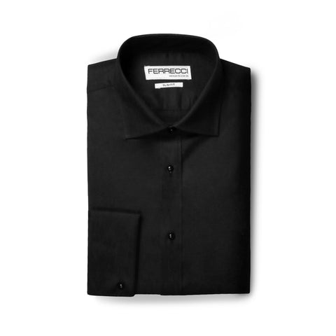 Ferrecci Men's Venice Slim Fit Pique Lay Down Collar Shirt