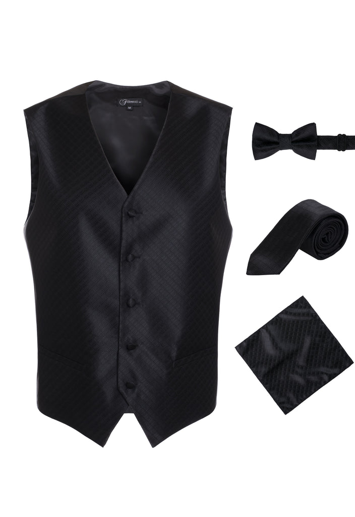 Ferrecci Mens 300-10 Black Diamond Vest Set - FHYINC best men's suits, tuxedos, formal men's wear wholesale