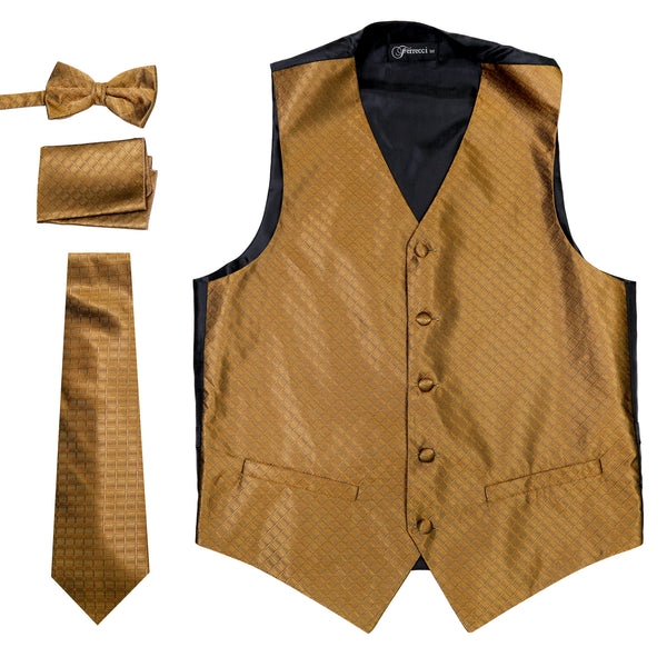 Ferrecci Mens 300-12 Brown Diamond Vest Set - FHYINC best men's suits, tuxedos, formal men's wear wholesale