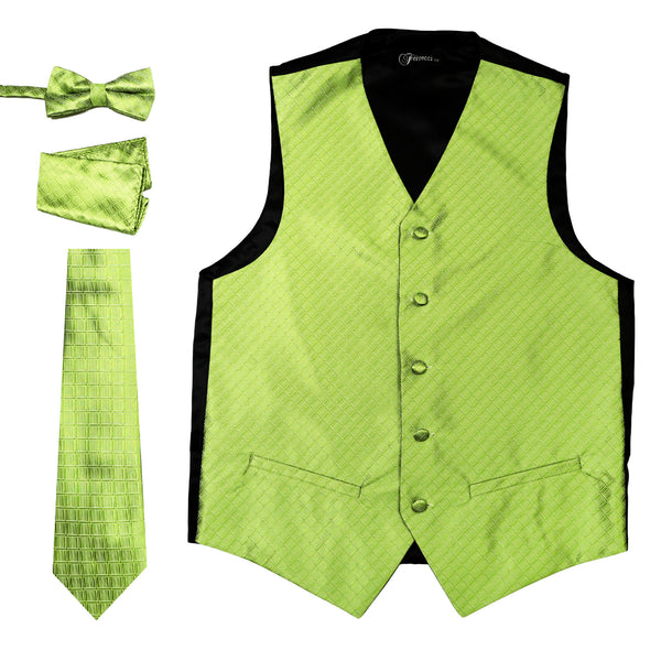Ferrecci Mens 300-11 Green Diamond Vest Set - FHYINC best men's suits, tuxedos, formal men's wear wholesale