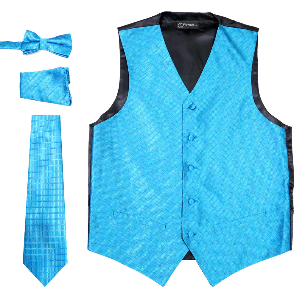 Ferrecci Mens 300-28 Aqua Diamond Vest Set - FHYINC best men's suits, tuxedos, formal men's wear wholesale