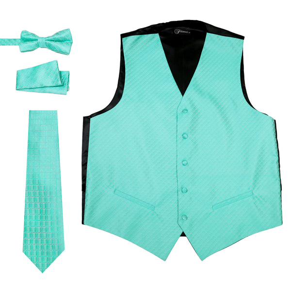 Ferrecci Mens 300-16 P Turquoise Diamond Vest Set - FHYINC best men's suits, tuxedos, formal men's wear wholesale