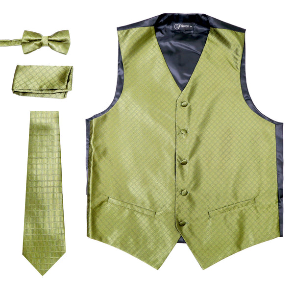 Ferrecci Mens 300-20 Olive Diamond Vest Set - FHYINC best men's suits, tuxedos, formal men's wear wholesale