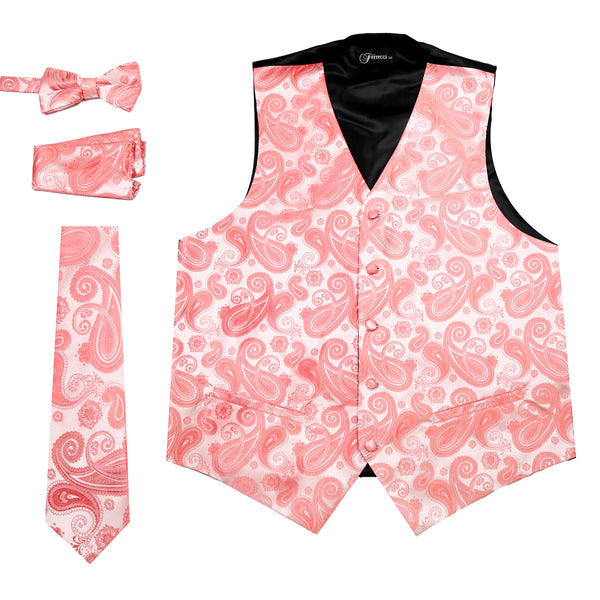 Ferrecci Mens Coral Paisley Wedding Prom Grad Choir Band 4pc Vest Set - FHYINC best men's suits, tuxedos, formal men's wear wholesale