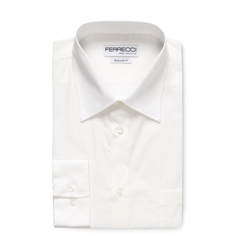 Ferrecci Virgo White Regular Fit Dress Shirt - FHYINC best men