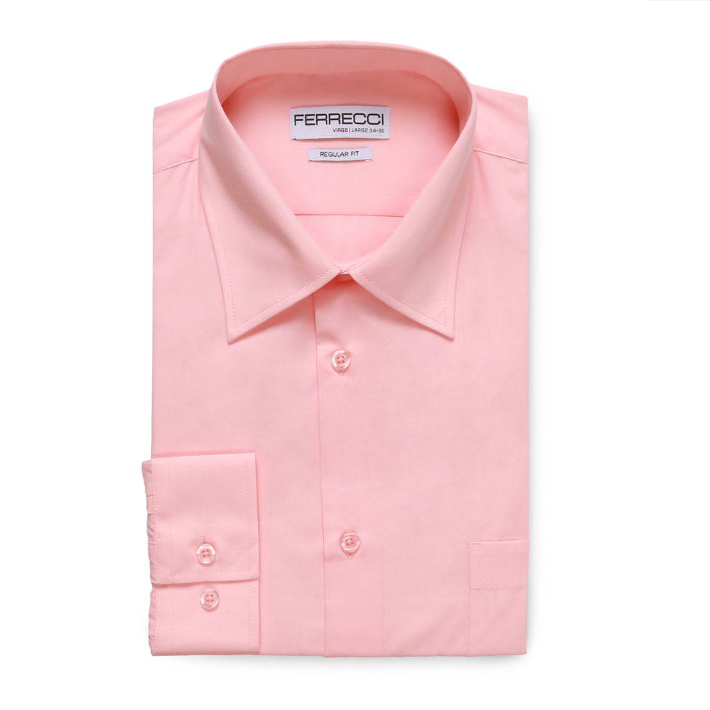 Ferrecci Virgo Pink Regular Fit Dress Shirt - FHYINC best men