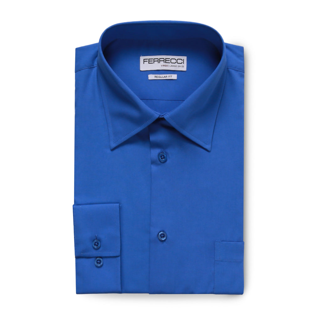 Ferrecci Virgo Royal Blue Regular Fit Dress Shirt - FHYINC best men