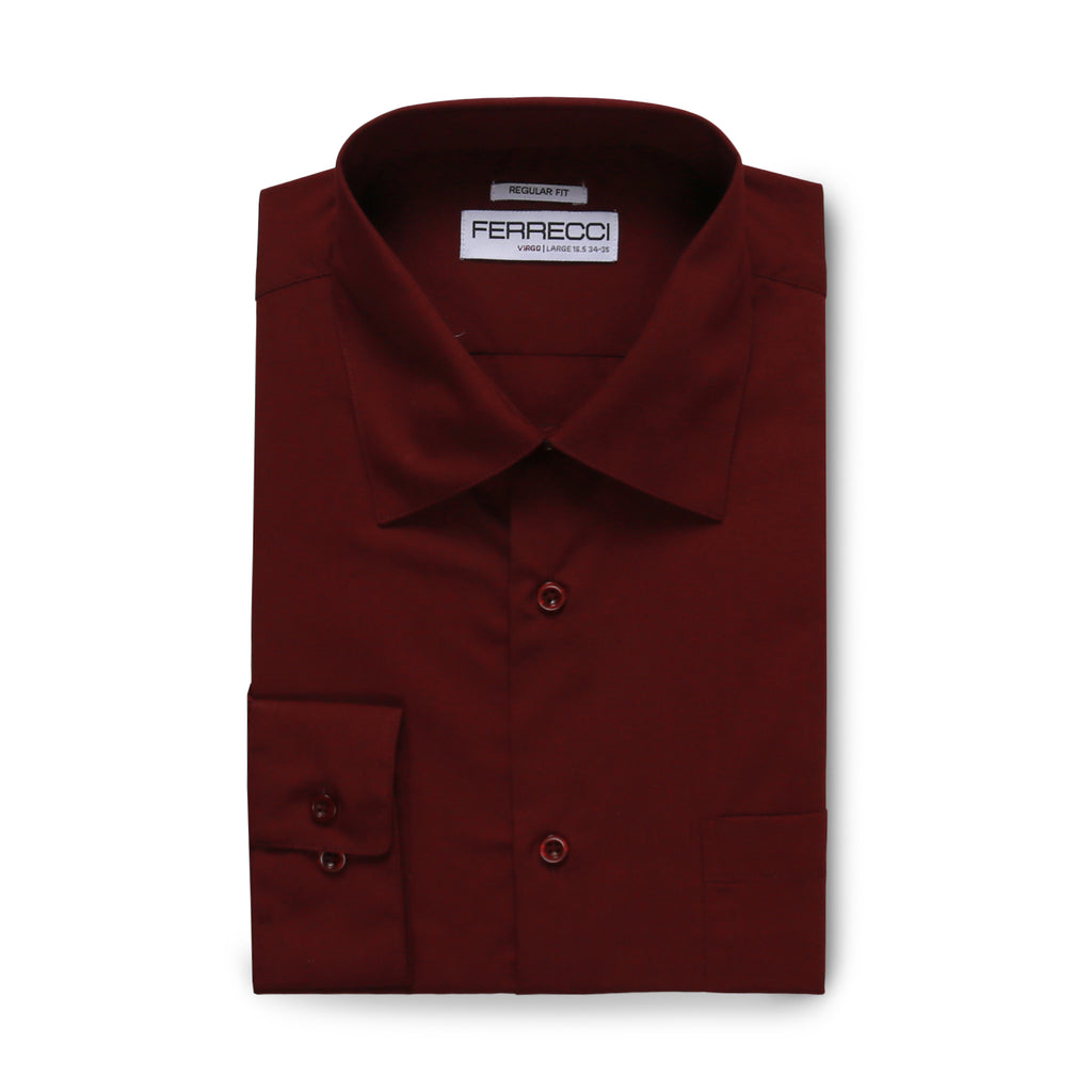 Ferrecci Virgo Burgundy Regular Fit Dress Shirt - FHYINC best men