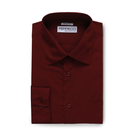 Ferrecci Virgo Burgundy Regular Fit Dress Shirt
