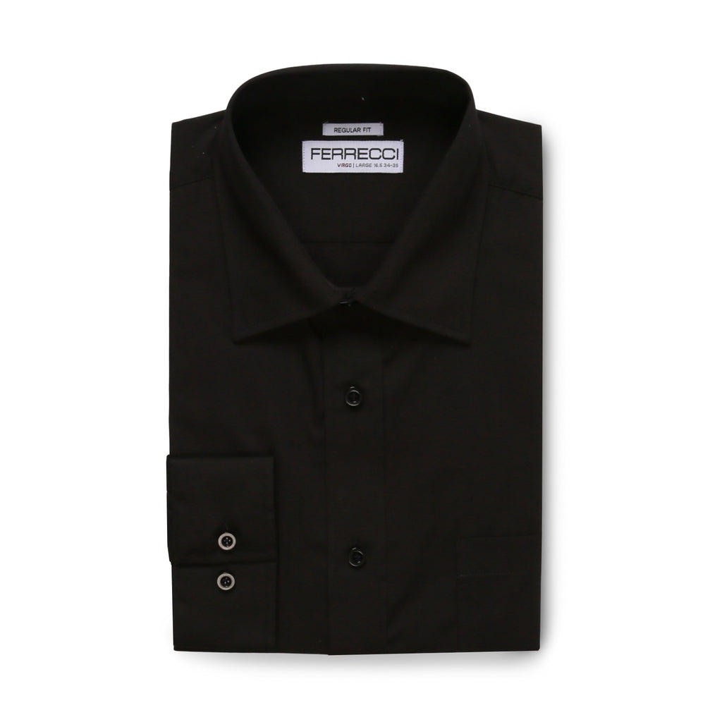 Ferrecci Virgo Black Regular Fit Dress Shirt - FHYINC best men