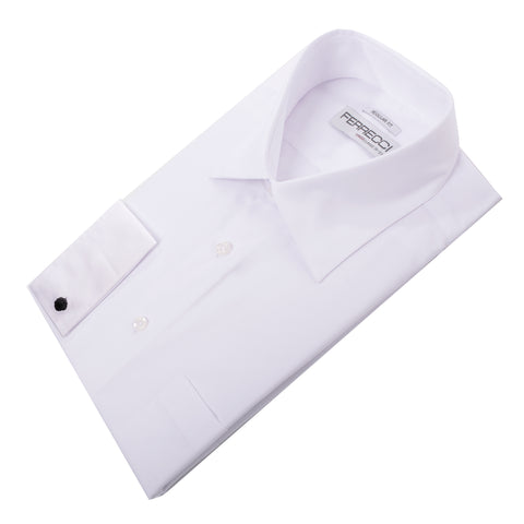 Virgo Snow White Regular Fit French Cuff Dress Shirt