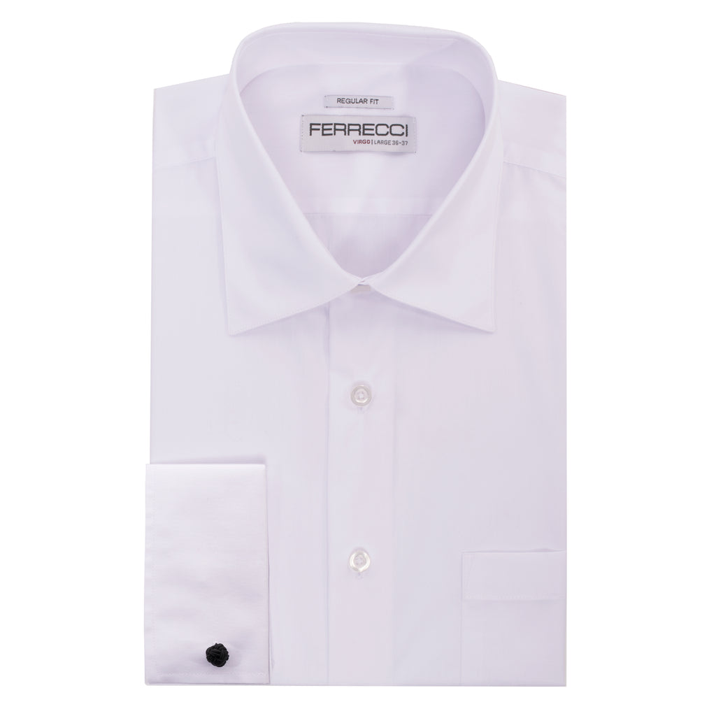 Mens White spread collar dress shirt with cuff-links.