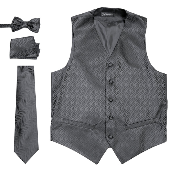 Ferrecci Mens PV150 - Black/Black Vest Set - FHYINC best men's suits, tuxedos, formal men's wear wholesale
