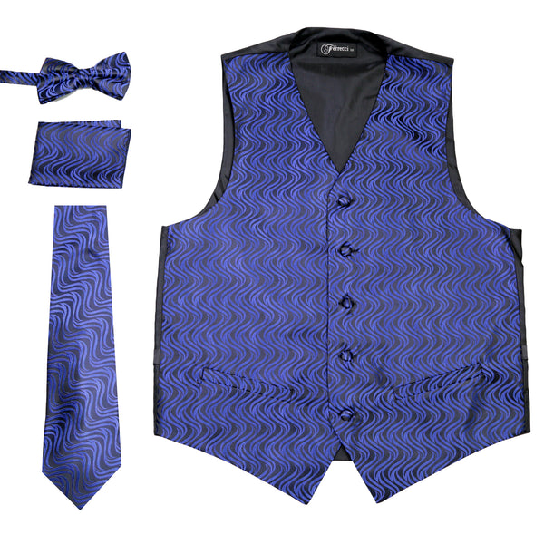 Ferrecci Mens PV150 - Black/Blue Vest Set - FHYINC best men's suits, tuxedos, formal men's wear wholesale