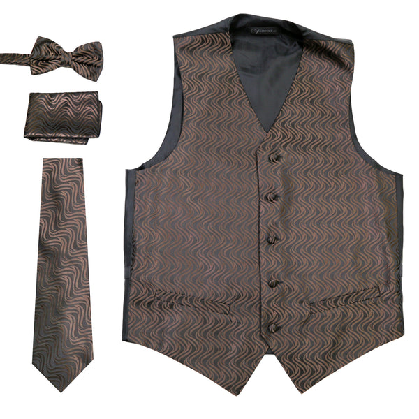 Ferrecci Mens PV150 - Black/Brown Vest Set - FHYINC best men's suits, tuxedos, formal men's wear wholesale