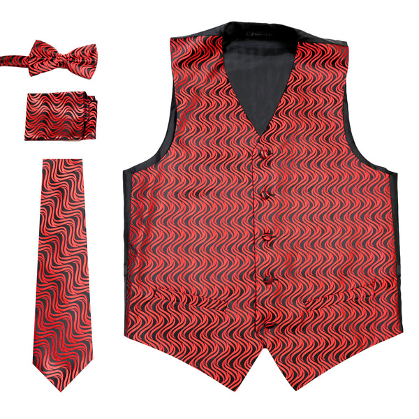 Ferrecci Mens PV150 - Black/Red Vest Set - FHYINC best men's suits, tuxedos, formal men's wear wholesale