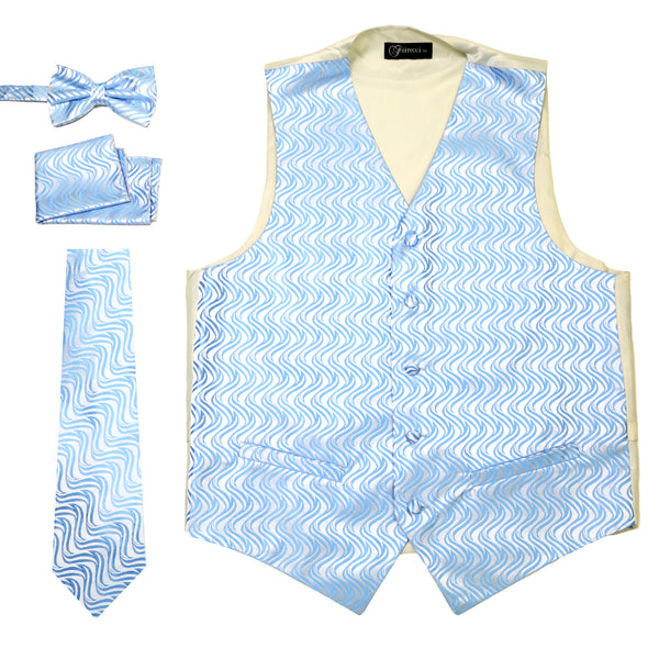 Ferrecci Mens PV150 - Blue/Cream Vest Set - FHYINC best men's suits, tuxedos, formal men's wear wholesale